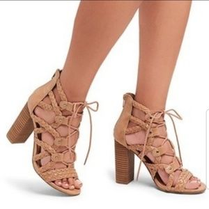 Merona Tan Lace Up Gladiator Heels
